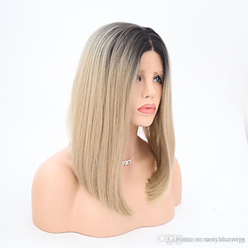 Новый сексуальный два тона парики ломбер блондинка теплостойкий 1Б 613 27# Короткий боб парики синтетический glueless кружева перед парики для чернокожих женщин
