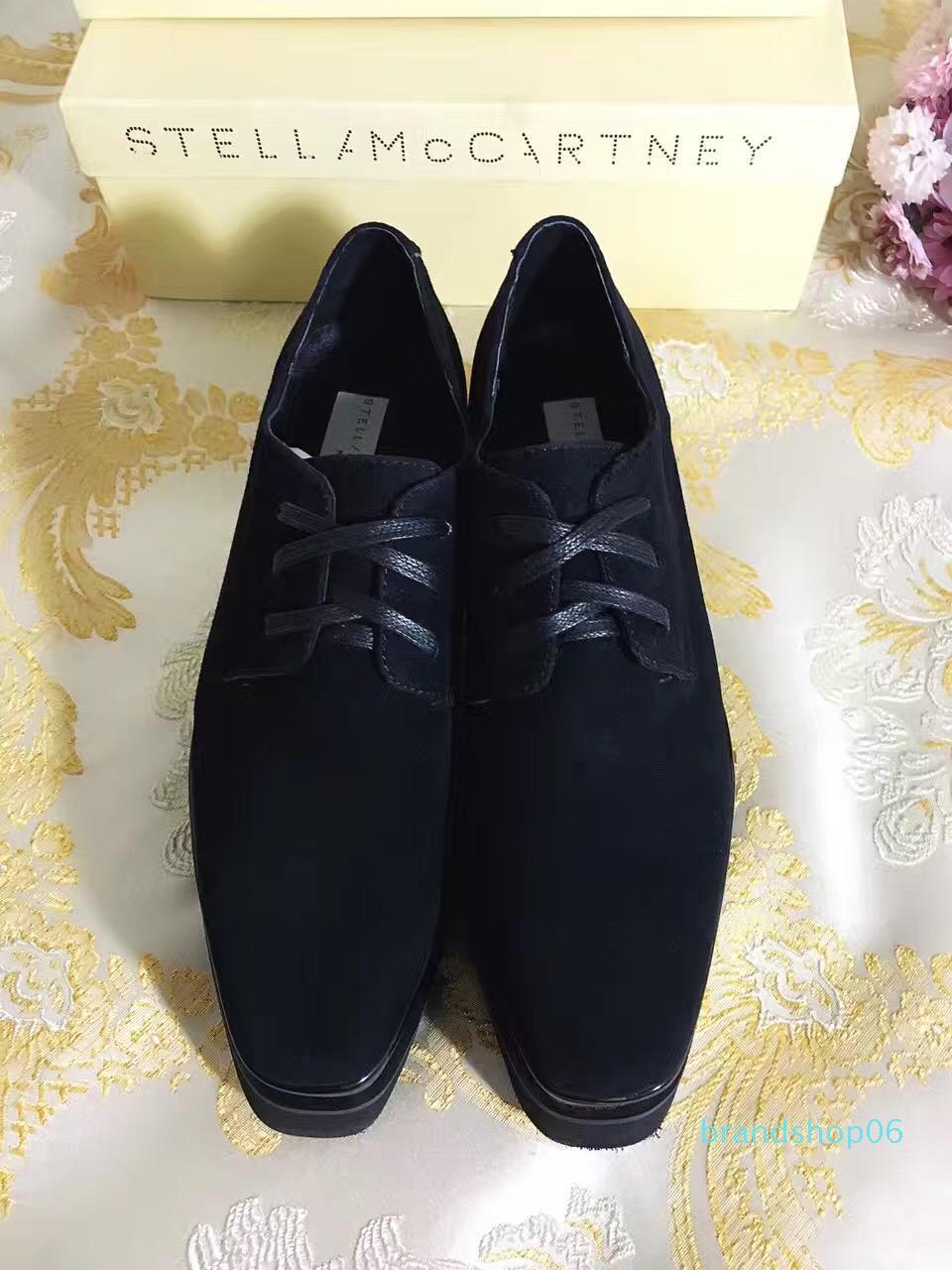 2020 zapatos de plataforma Stella Mccartney Elyse Negro gamuza de piel de oveja de cuero de moda ata para arriba alrededor del dedo del pie 35-42