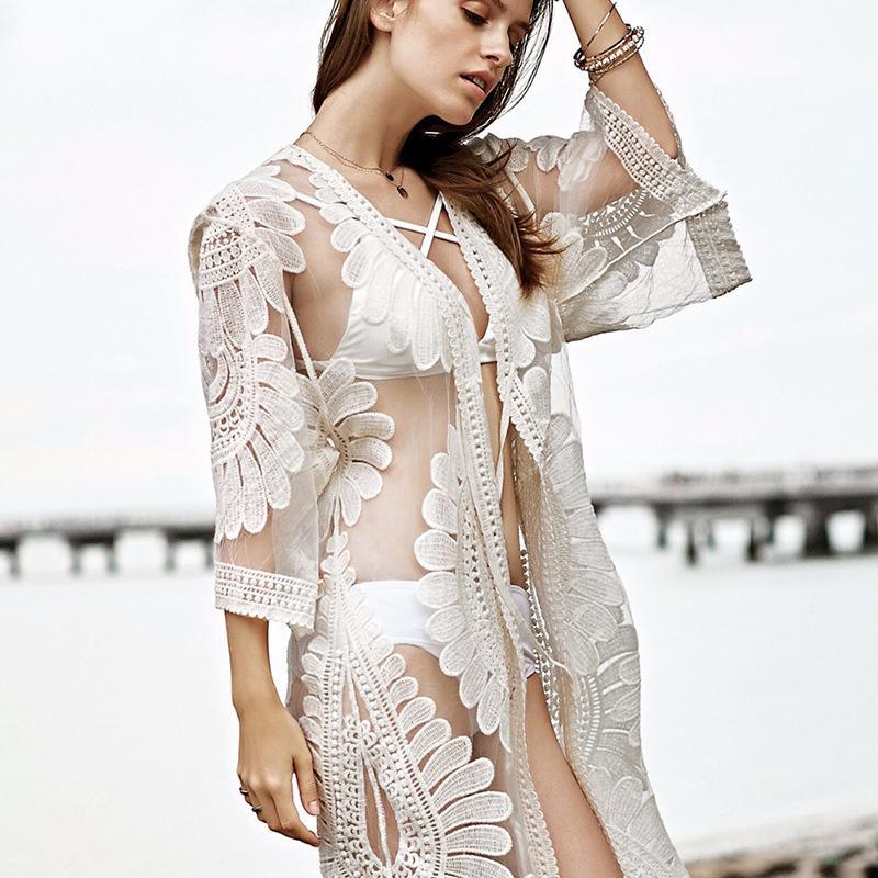 Сексуальная женский Купальный Lace See Through с длинным рукавом бикини прикрывает купальник лето пляж платья