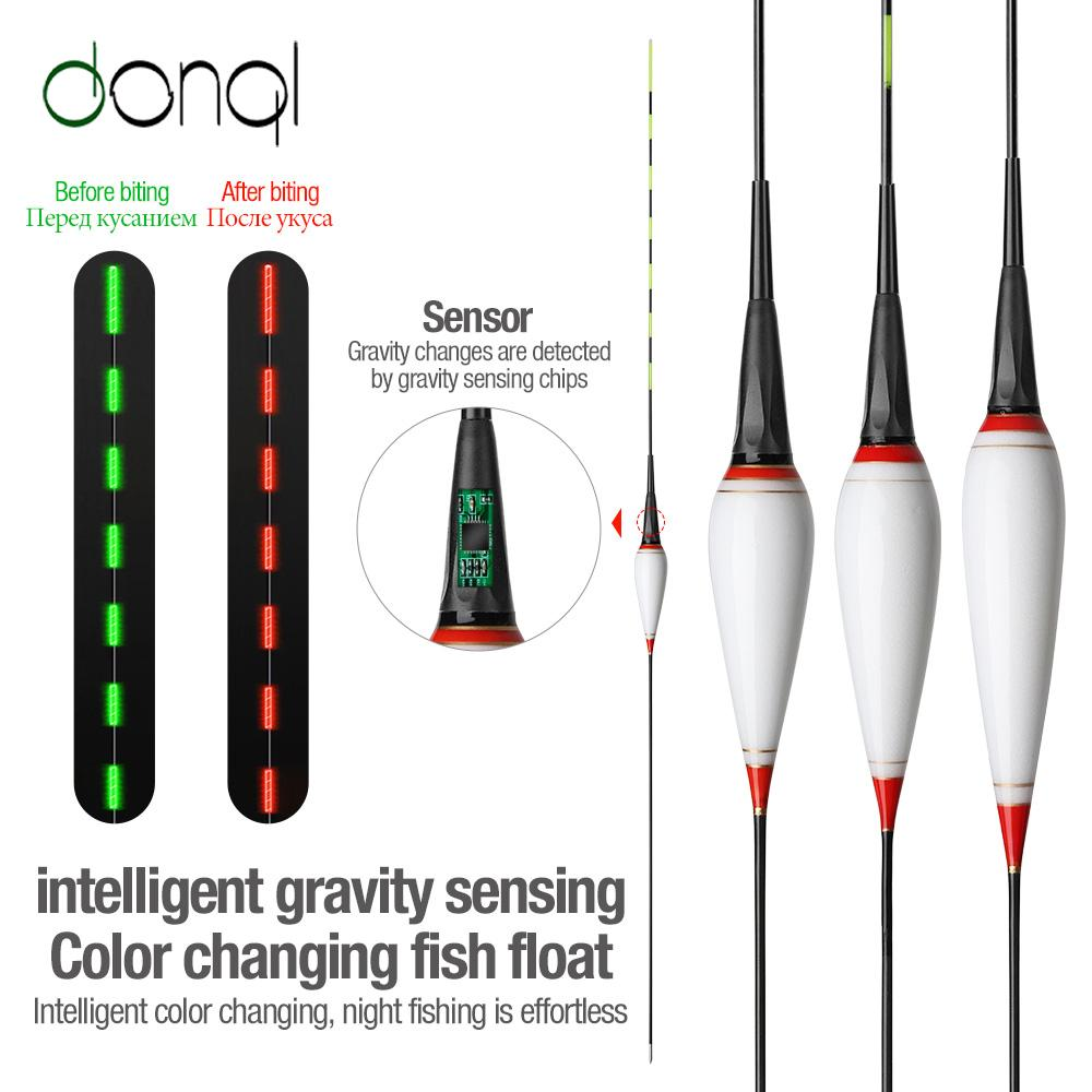 Cheap DONQL Nano Inteligente Led Fishing Float Gravidade Sensor Fish Bite Lembre Bóia de incandescência elétrica Noite Float Pesca com baterias