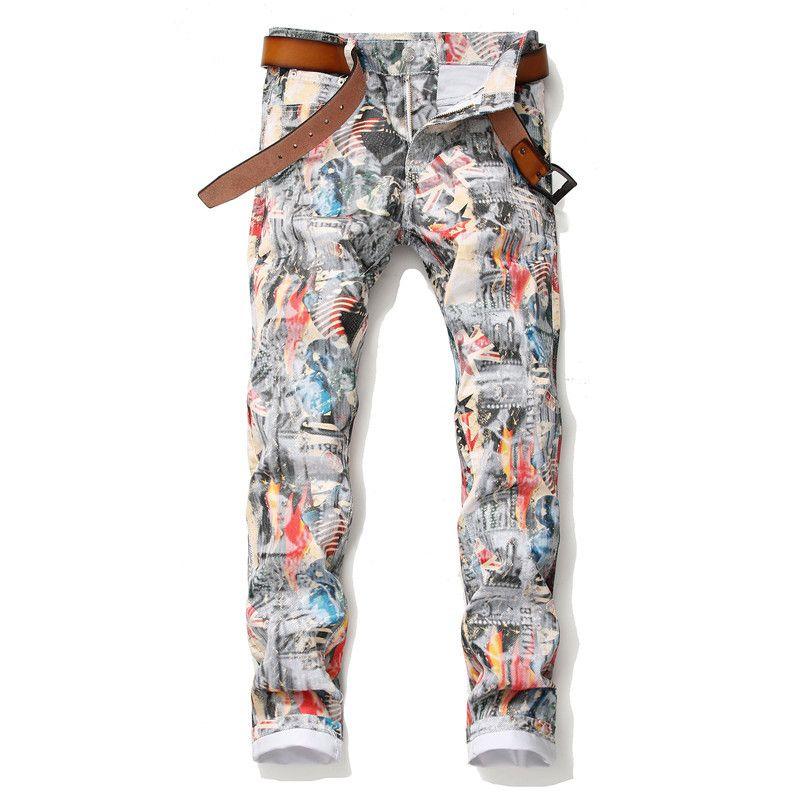 Новая мода мужские джинсы длинные стройные штаны Ночной карандаш штаны Stretch Флаг печати джинсы налить Hommes