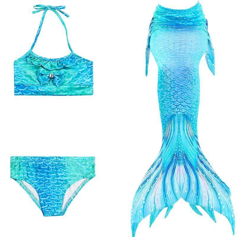 22 لون الفتيات ارييل swimmable حورية البحر الذيل للسباحة الأطفال أطفال اللباس ذيل السمكة السباحة 3 قطع بيكيني مجموعة J190506