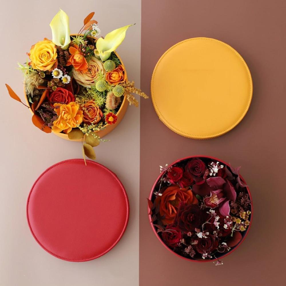Deri Çiçek Hediye Kutusu Yuvarlak Hug Kepçe Kapak Çiçekçi Gül Çiçek Düğün Dekor Sevgililer Kutu Hediye Çanta Kaydırma'yı Packaging ile