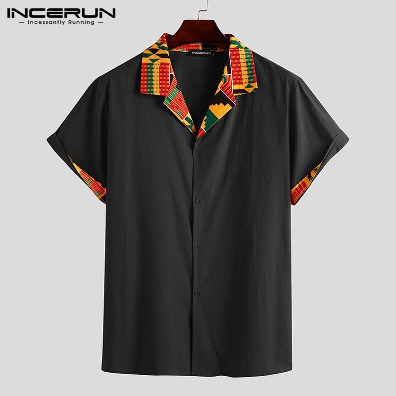 Мужские повседневные рубашки Incerun Мужские летние с коротким рукавом напечатанные отвороты рубашки человека этнические пэчворки свободные дышащие Blusa мода Chemise 5XL