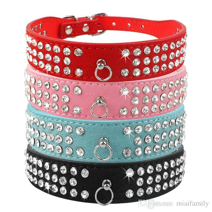 (6 couleurs mélangées) Brand New Colliers de chien en cuir de daim 3 rangées strass collier de chien diamante Colliers mignons pour animaux de compagnie 100% qualité 4 tailles disponibles
