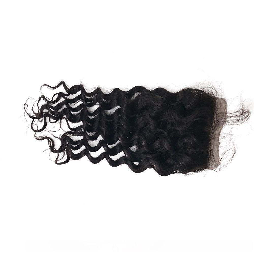 H Asian Human Deep Hair Wave 4x4 Silk Base Закрытие с ребенком волос 8 -22 дюймов Natural Color Top Затворы Fdshine