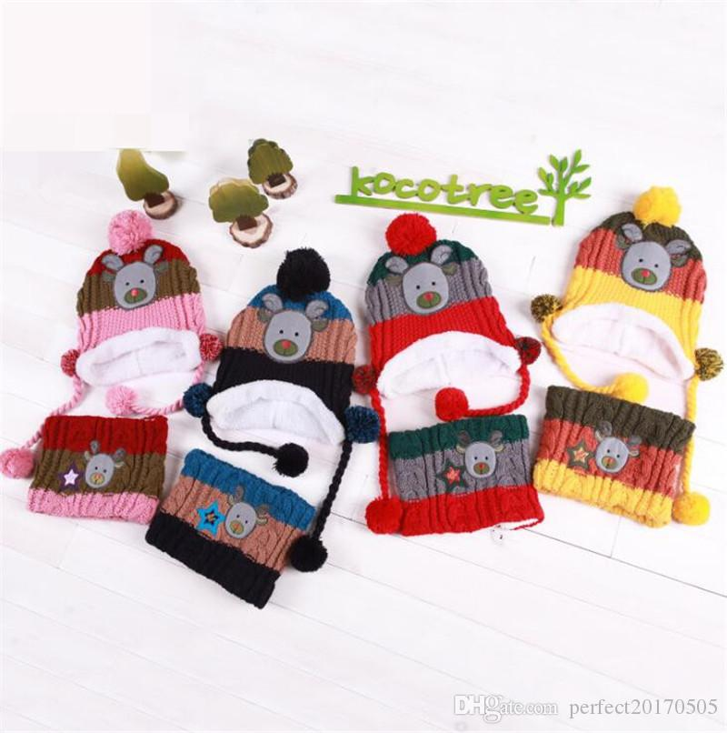 2018 nuovo stile Natale Beanie Cappelli per bambini e bambini Inverno Cappello Inverno caldo cappello lavorato a maglia con sciarpa Set in Pile Prefect regalo di Natale