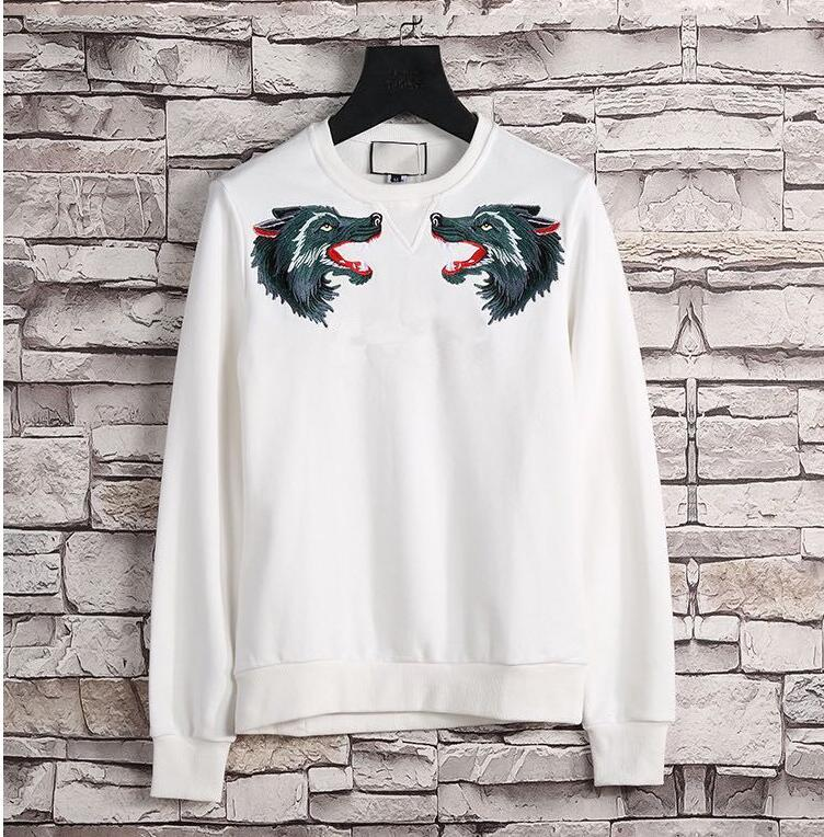 2019 marca de moda wolf head bordado T-shirt de manga comprida de capuz masculino usar Camisola De Mulheres Outono E Inverno Desporto casual Com Capuz jac