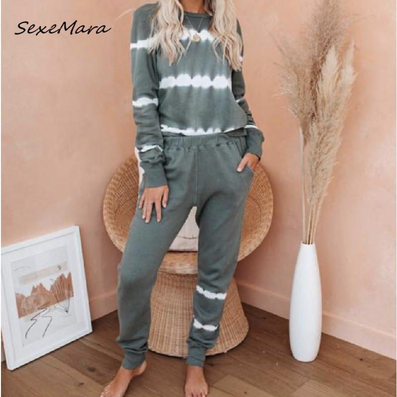 Новая мода прибытия печати Женщины Пижама 2020 Осень Длинные рукава Pajama наборы женской одежды