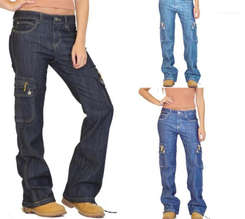 Cor Zipper bolso da calça jeans da moda Womens Womens Jeans calças cargo Outono Casual Street Style Sólidos