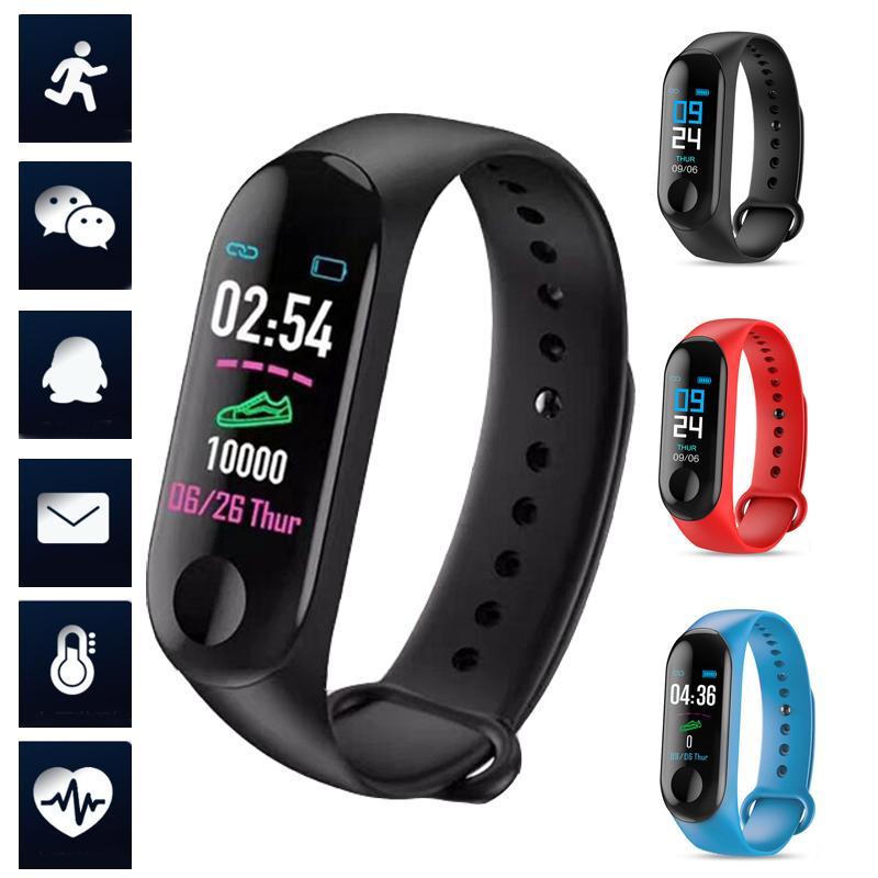Давление M3 Смарт браслет Часы Монитор сердечного ритма Монитор артериального Sleep Monitor Спорт Шаг Наручные часы для мужчин женщин