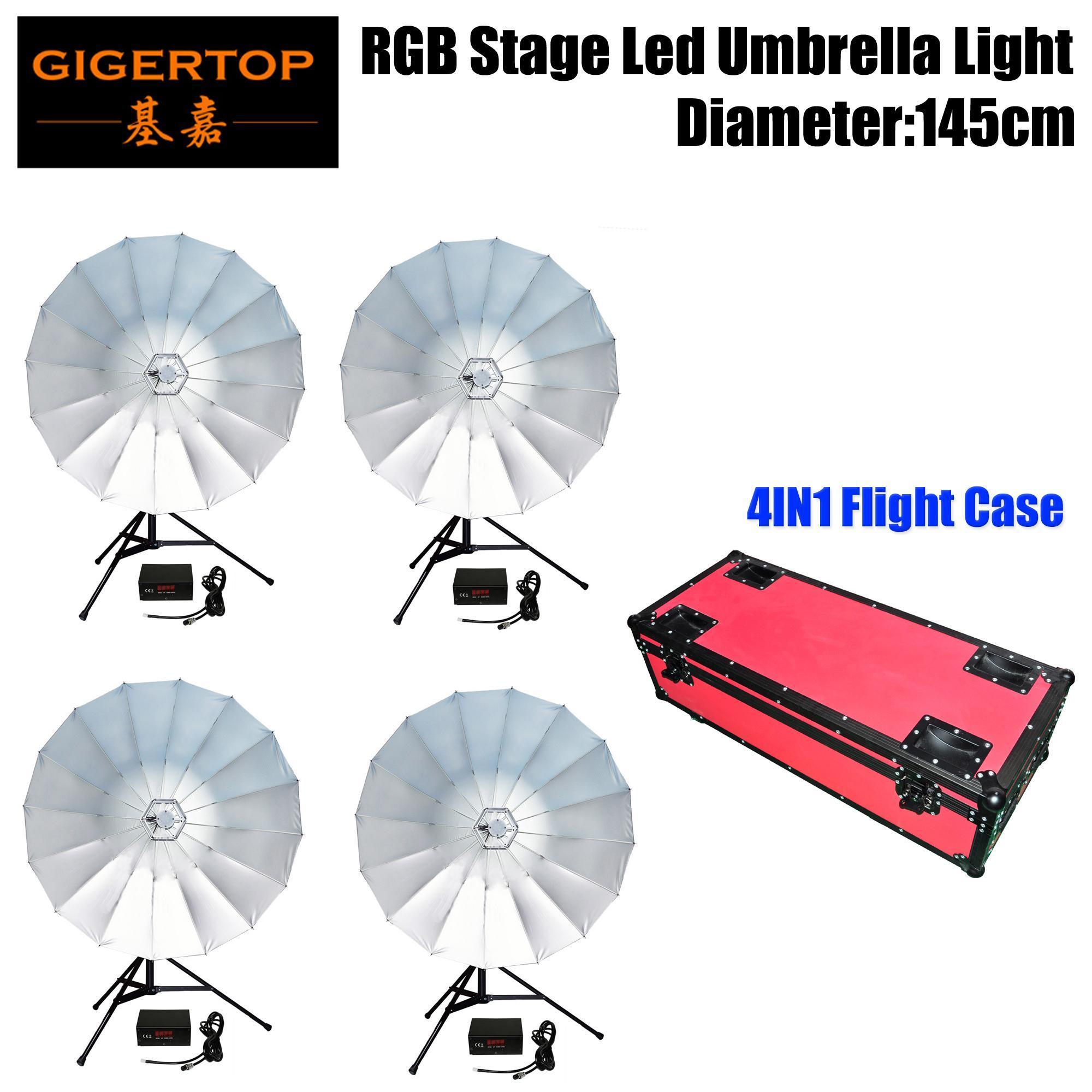 4in1 Rouge Couleur Flightcase pack intérieur Rgb Led Umbrella Professional scène éclairage Cmy mélange de couleurs 145cm Diamètre ouvert -Um34 Tp