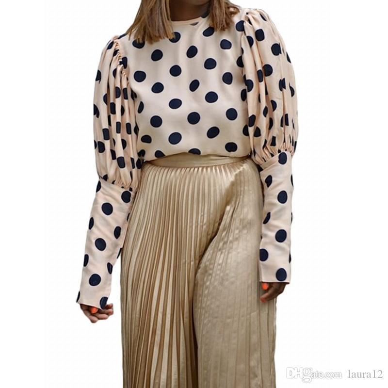 패션 폴카 도트 인쇄 푹신한 긴 소매 여성 블라우스 셔츠 패널로 크루 넥 느슨한 우아한 레이디 T 셔츠 캐주얼상의 최신