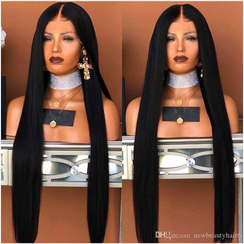 30 polegadas Longo parte profunda Reta Brasileira perucas cheias do laço Com o Cabelo Do Bebê Parte Do Meio sintética Perucas Dianteiras Do Laço Para a áfrica mulheres americanas