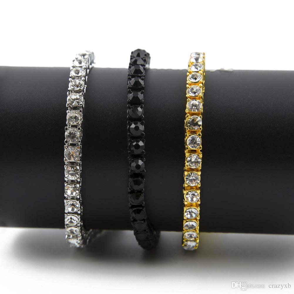 2019 패션 핫 세일 골드 컬러 힙합 팔찌 행 시뮬레이션 된 다이아몬드 반짝 이는 라인 석 펑크 스타일의 남성용 팔찌 클래식 보석 전체