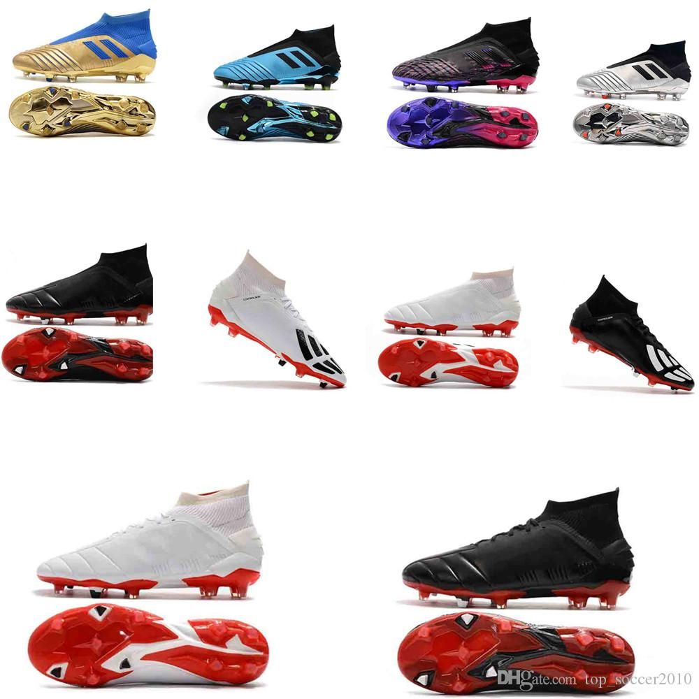 2018 original Predator 19+ soccer cleats Predator Mania 19+ FG boys football boots turf soccer shoes for kids Turbocharge Pack black