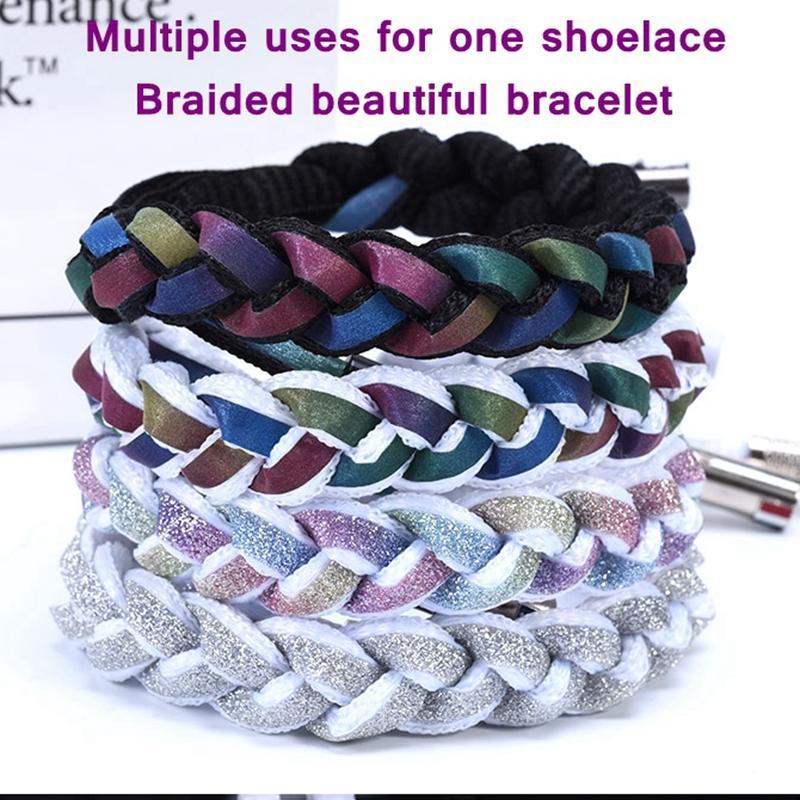 New Reflective Shoelaces Laser Pailletten Schnürsenkel Weave geflochtenes Armband Turnschuhe Laufschuhe Erwachsene Kinder Schnürsenkel schnüren