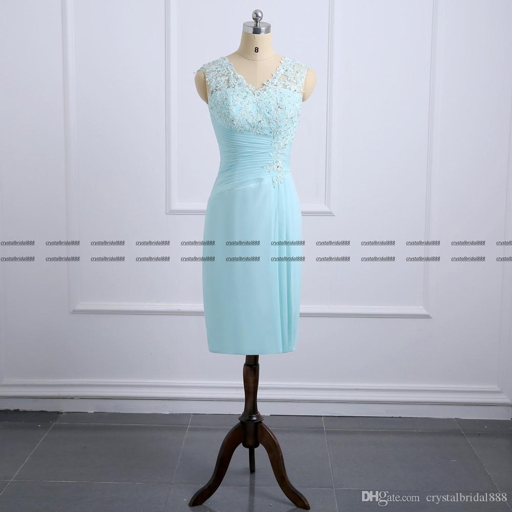Новый сексуальный мятно-зеленый Платья для матери невесты V-образным вырезом из шифона с кружевными аппликациями с пиджаком до колен Платья для матери Свадебные гостевые платья