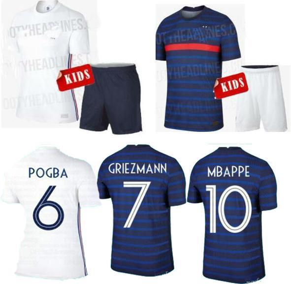 Away Home kids Kits France 2020 Soccer Jerseys MBAPPE GRIEZMANN Jersey Kids Kit Uniforms POGBA NDOMBELE KANTE Football Shirt