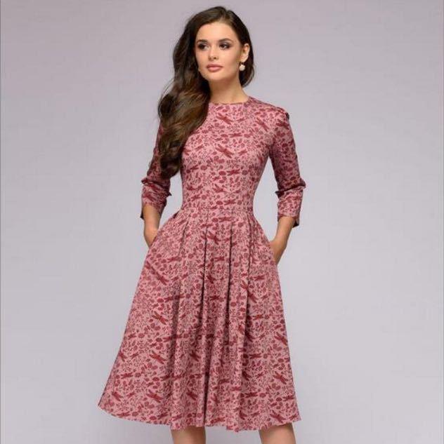 여자 Elegent 라인 드레스 빈티지 인쇄 파티 vestidos 3 분기 슬리브 여성 봄 드레스 (없음 주머니) S-3XL YNL0146