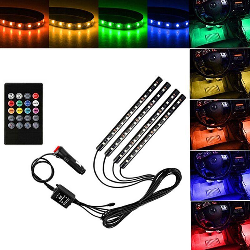 Araba stil Kablosuz Uzaktan / Müzik / Ses Kontrol İç Kat Ayak Dekorasyon Işık LED Atmosfer Neon Lambası Şerit