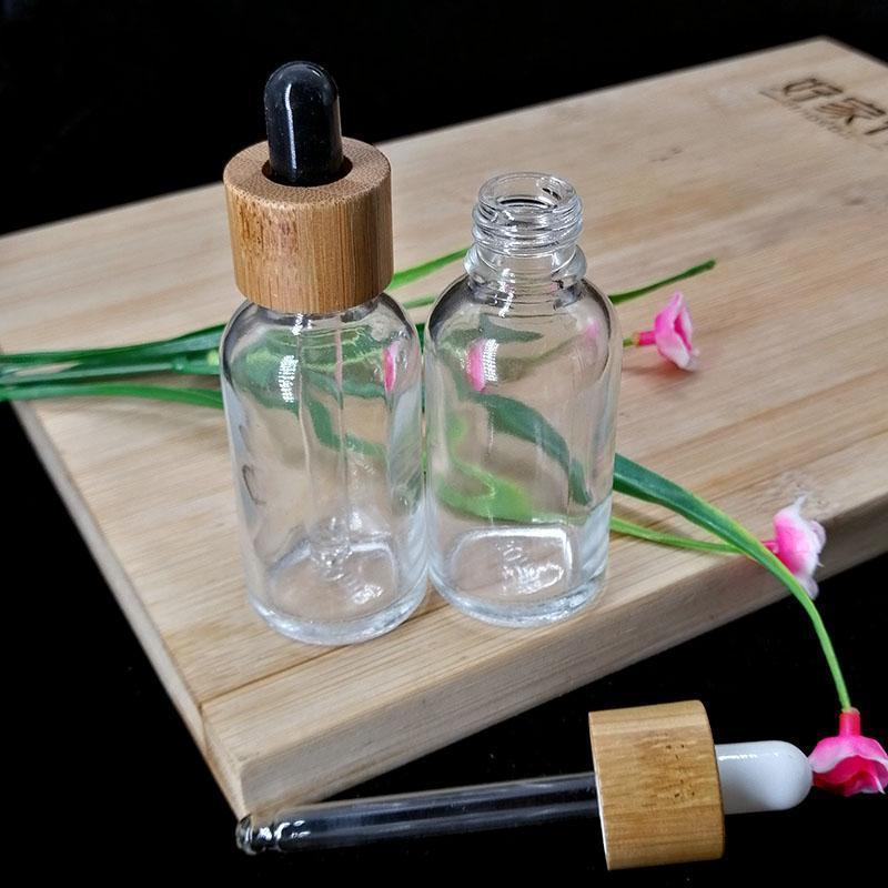 30ML مسح الزجاج من الضروري النفط القطارة زجاجة مستحضرات التجميل ماصة الحاويات تغليف زجاجة صديق للبيئة من الخشب الخيزران غطاء