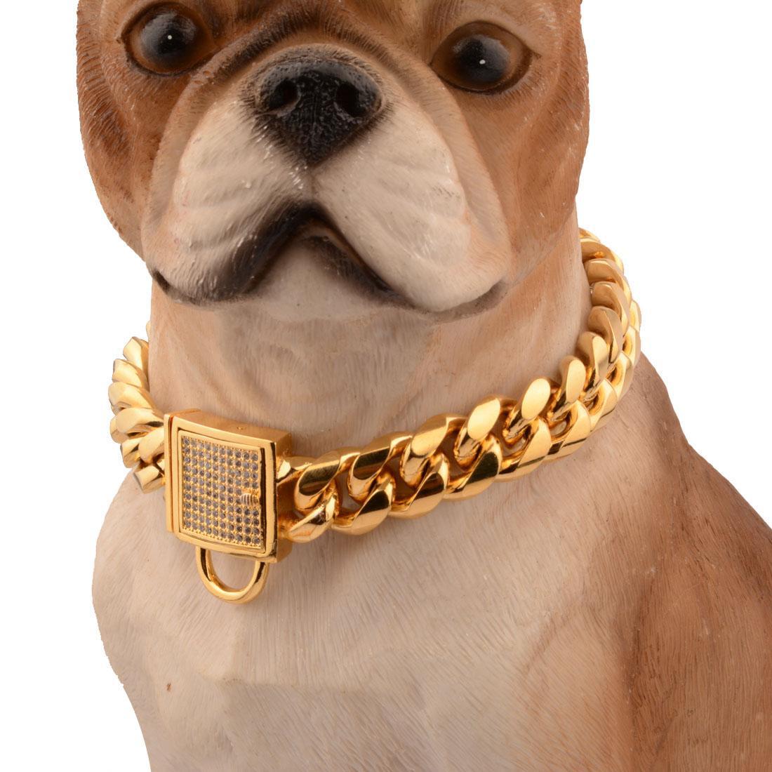 Corrente de Ouro Dog Miami banhado Coleiras Grosso Collar Large Dog Pitull Curb cubana Pet Link Aço Inoxidável Pet Shop 10 ~ 32 polegadas