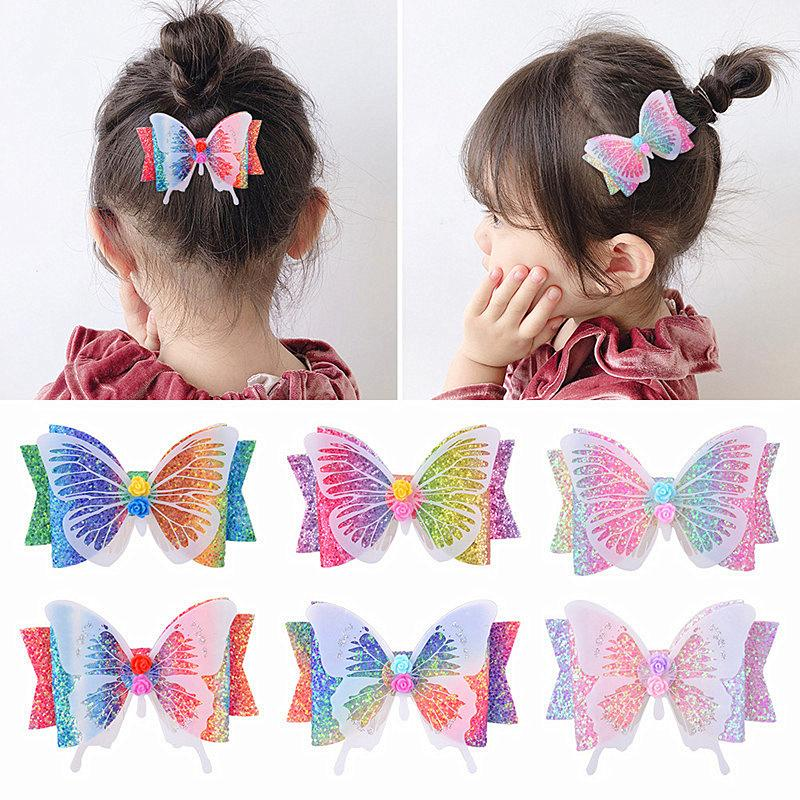 3.5 Inches Girls Bow Hair Clip Bows Summer Sequins Hairclip Barrettes for Children Hairpin Hairband Hair Accessory with Cardboard Best Sale