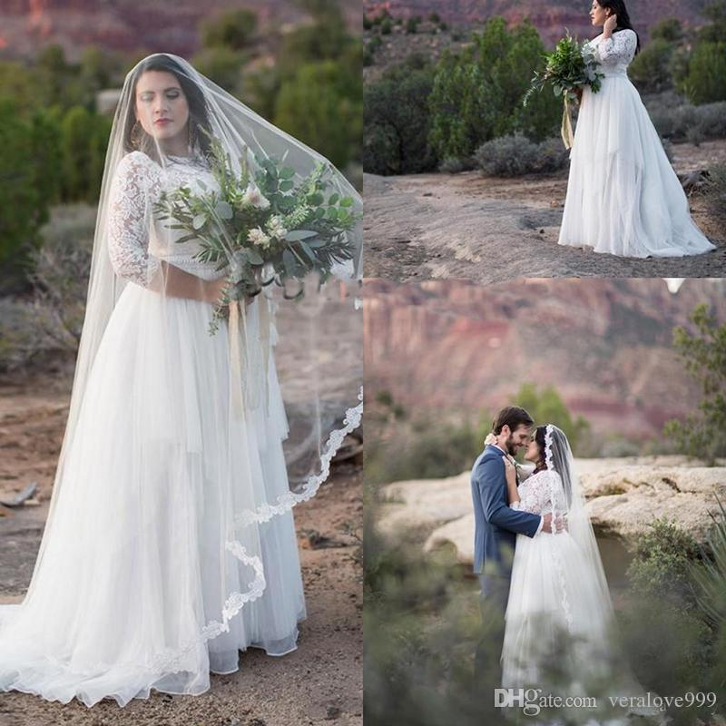 Plus Size Wedding Party Dresses Modest Lace Tulle Half Sleeve Jewel Neck Full length Outdoor Bohemian Country Bridal Dress Cheap