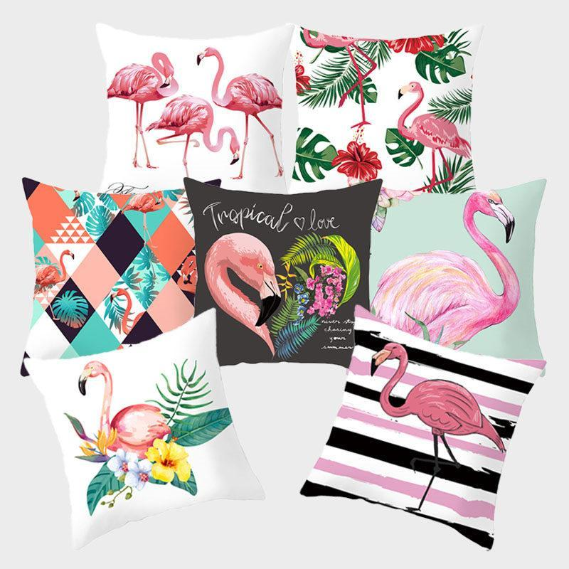 Flamingo Pink Dekoratif Yastık Kılıfı Tropikal Bitki Yeşil Yastık Yastık Koltuk Ev Dekorasyon yastık kılıfı için Polyester Kapaklar