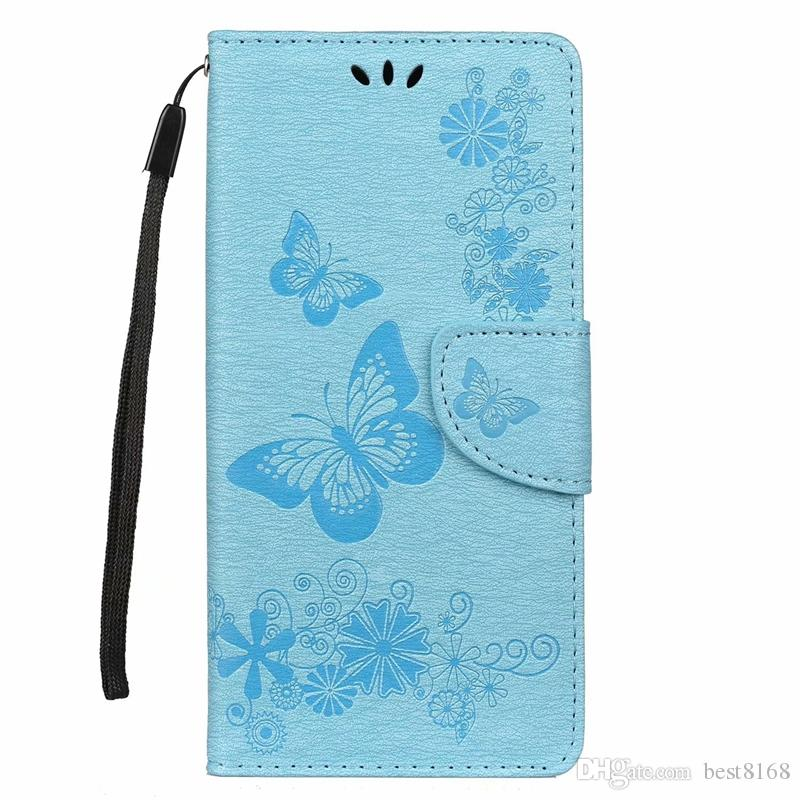 Butterfly Leather Wallet Case For Huawei P30 Pro Lite Galaxy S10 S10e Plus M10 M20 A30 A50 Flower ID Card Slot Cover Flip Fashion Skin Strap