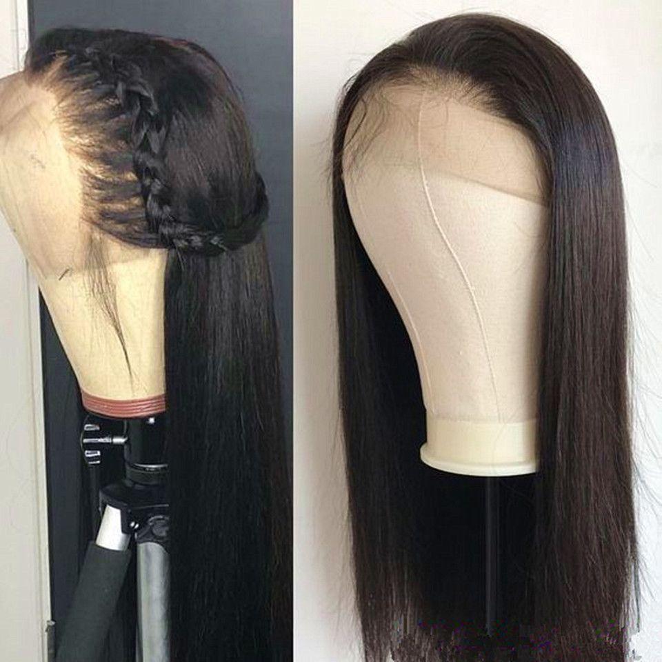 Recta del frente del cordón peluca brasileña sin cola de encaje completa Virign humano peluca Yaki ligero con el bebé pelucas de pelo para las mujeres