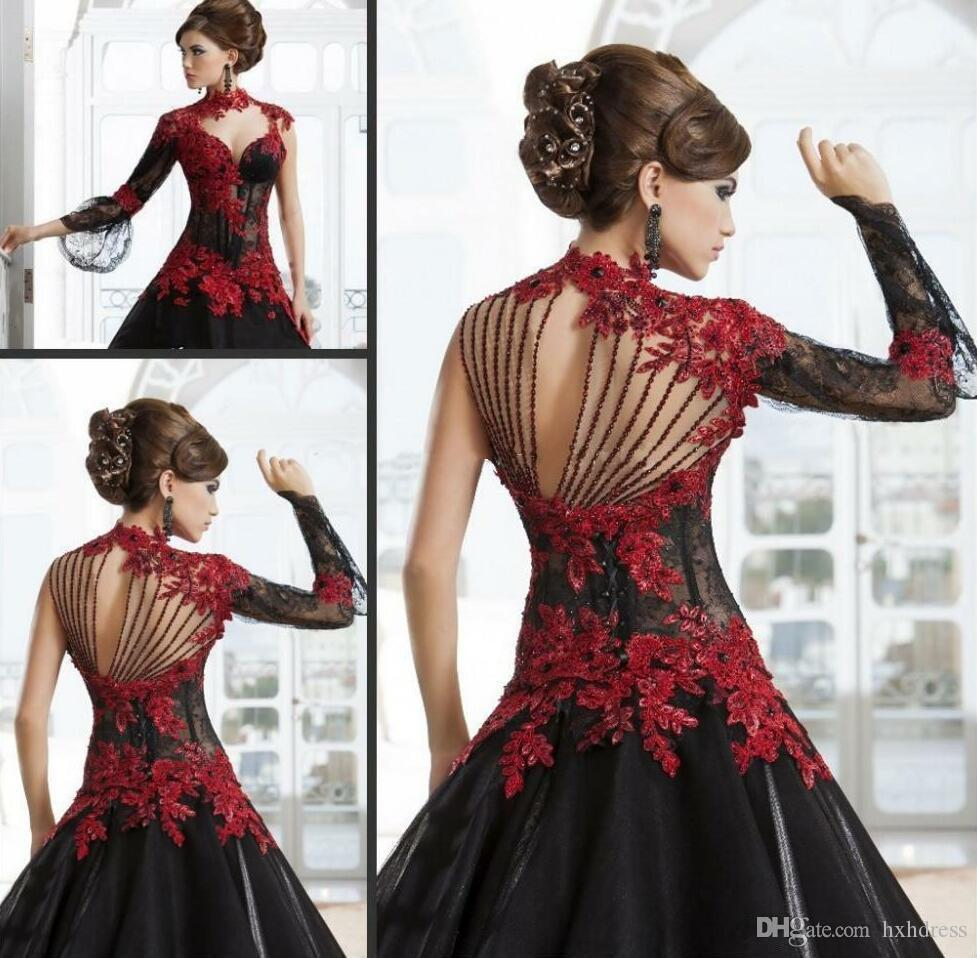 Victorian Gothic Masquerade Brautkleider hohe Ansatz Rote und schwarze A-Line SpitzeAppliques Gothic Brautkleider Perlenstickerei Rücken Brautkleider 7