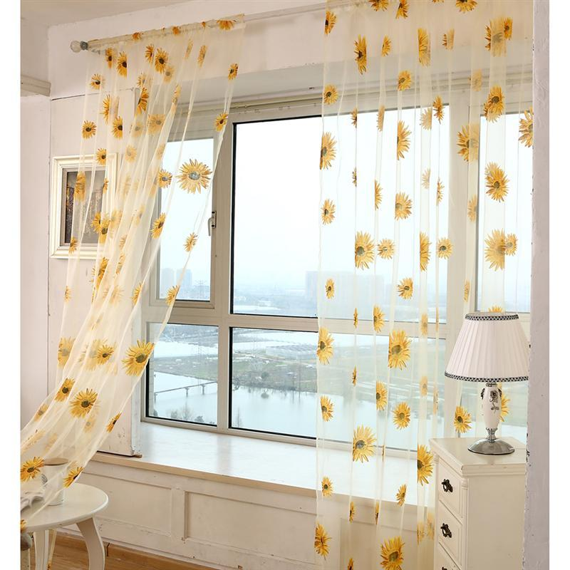 1pc Transparent Tulle Window Sheer Window Screen Voile Curtain With Sunflowers For Bedroom Living Room
