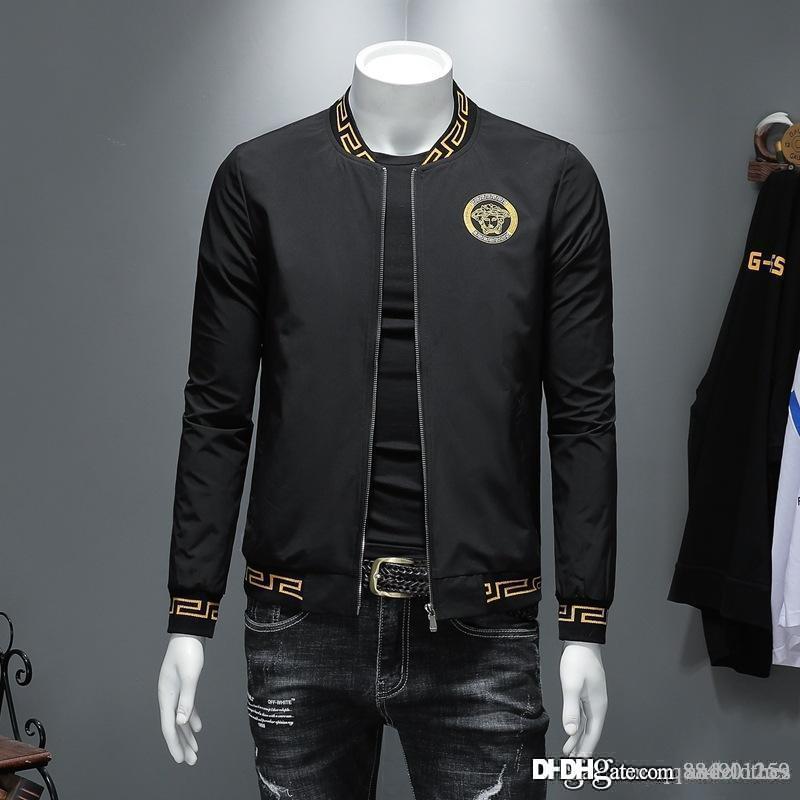 jaquetas dos homens do desenhista jaqueta corta-vento Casual Masculino Vestuário Zipper xadrez gola impresso Magro Mens Jackets Designer Tamanho M-4XL