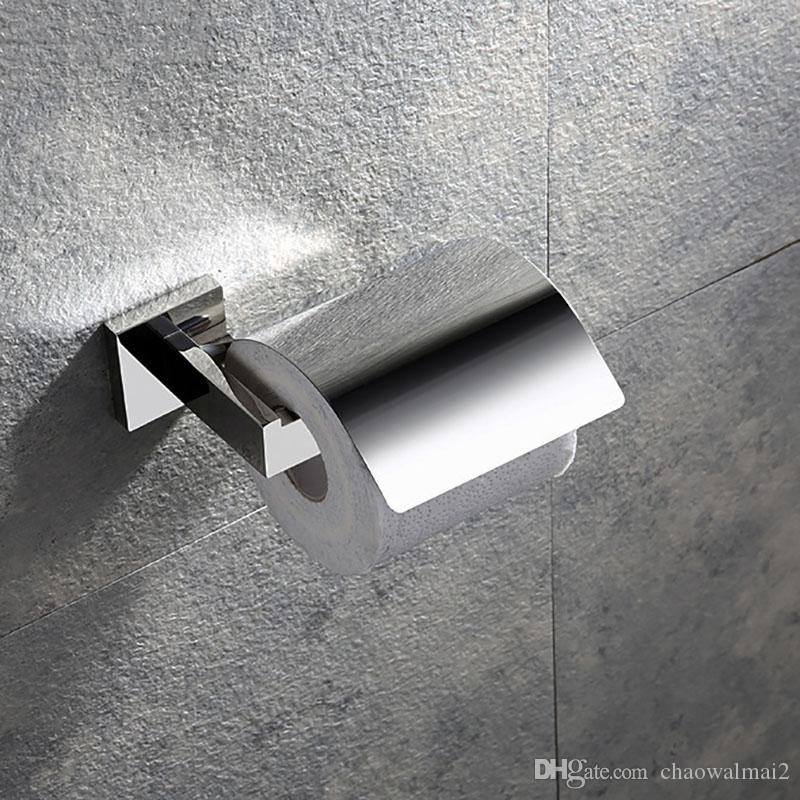 Stainless Steel Mirror Chrome Surface Paper Holder With Cover Bathroom Wall Mounted Paper Towel Rack
