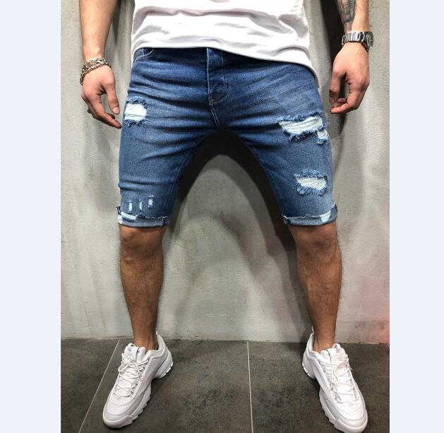 Summer denim shorts male jeans mens jogger ankle ripped blue denim shorts hole washed short pants