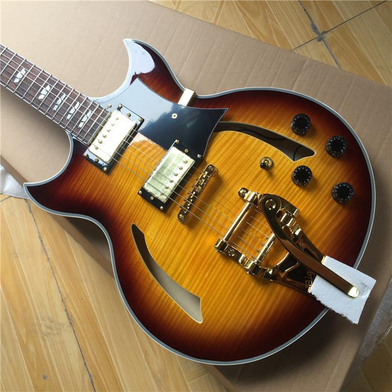 transporte artesanal Johnny Uma guitarra elétrica free jazz, o corpo semi-oco Vos guitarra cor sunburst
