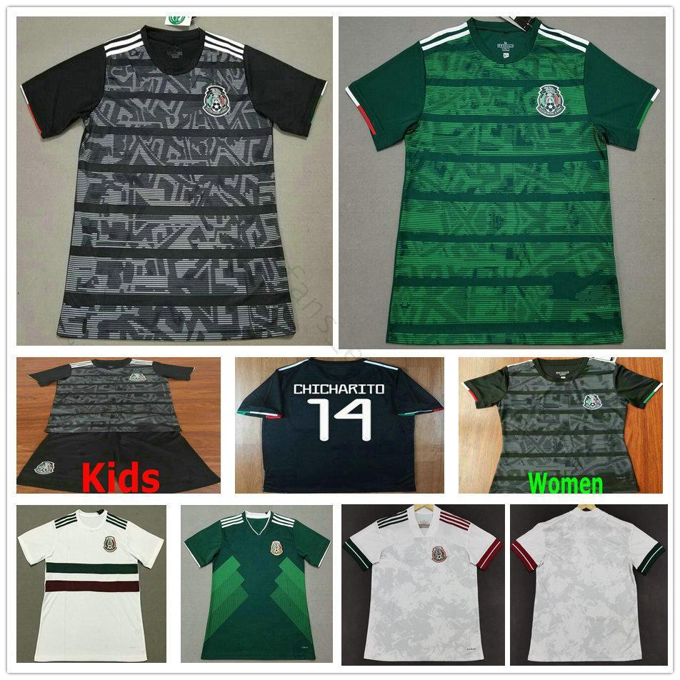 Высокое качество Мексика футбол футбол прочь белый 20 21 Chicharito Lozano Dos Santos пользовательских 2020 футбол мужская + детская комплект Униформа Mailoots