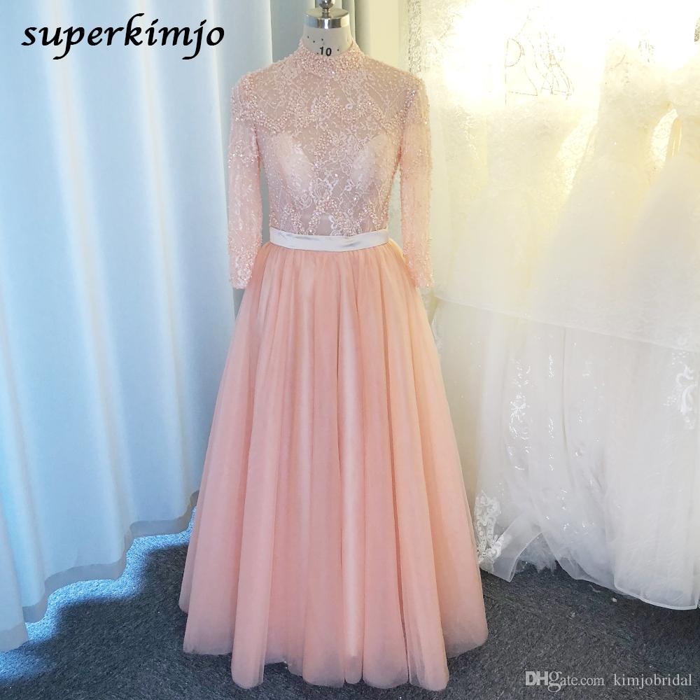 image réelle robes de bal 2020 rose manches longues col haut perles perles paillettes perles pure corsage tulle étage longueur robes de soirée