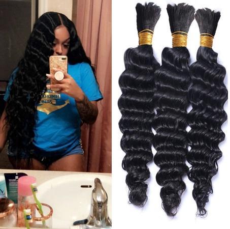 Deep Curly Peruano Bulk Hair Para Trança 3 Pçs Lot No Anexo De Profunda Onda Trança Peruano Cabelo Humano Bulk