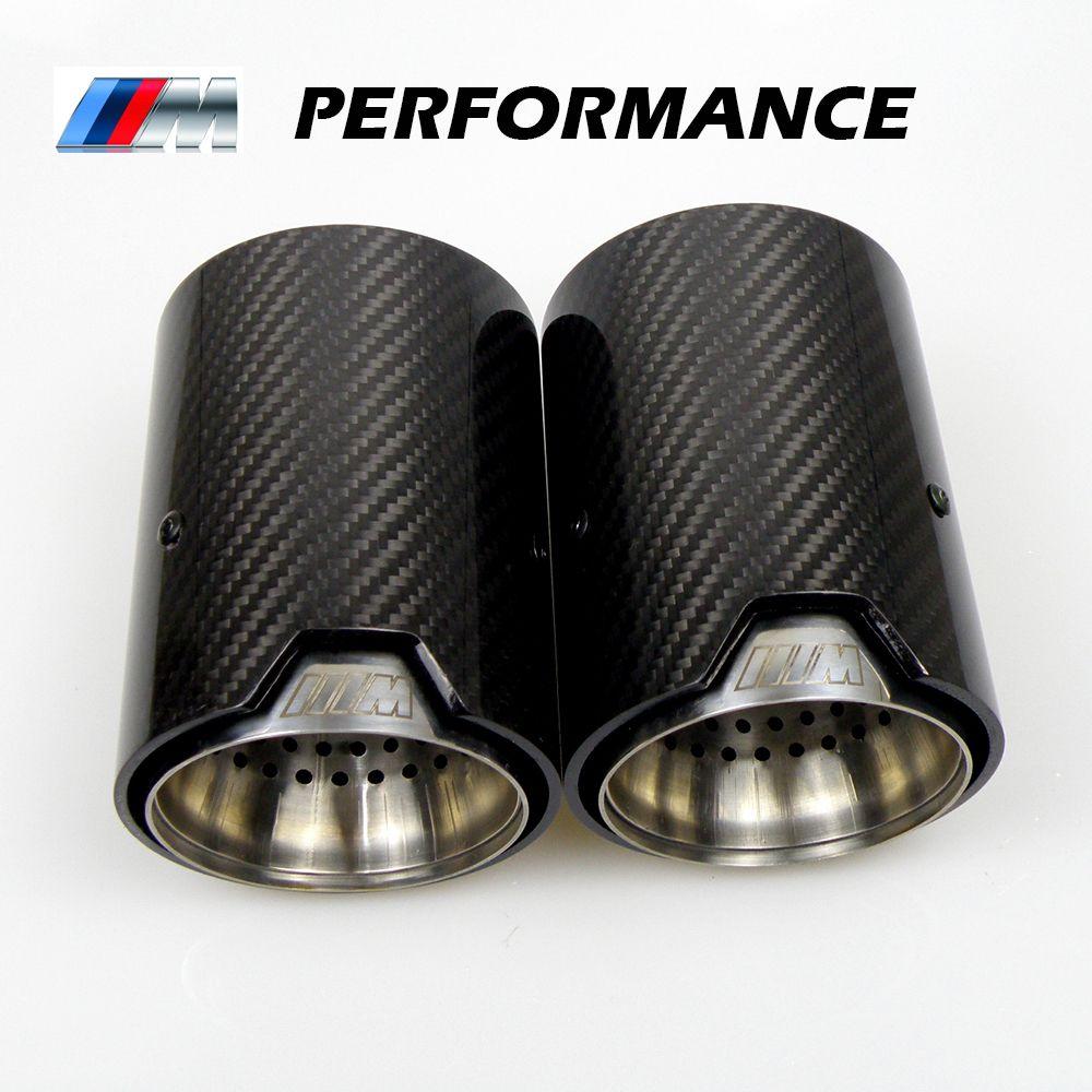 2PCS ريال ألياف الكربون العادم الأنابيب الخمار تلميح للحصول على BMW M الأداء ماسورة العادم M2 M3 F87 F80 F82 F83 M4 M5 F10 M6 F12 F13