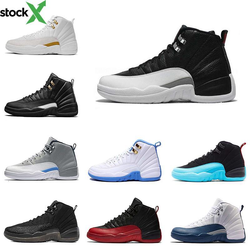 Barato 12s zapatos de baloncesto para hombre juego de la gripe el maestro taxi Universidad azul 12 zapatillas de deporte hombres calzado deportivo tamaño 8-13