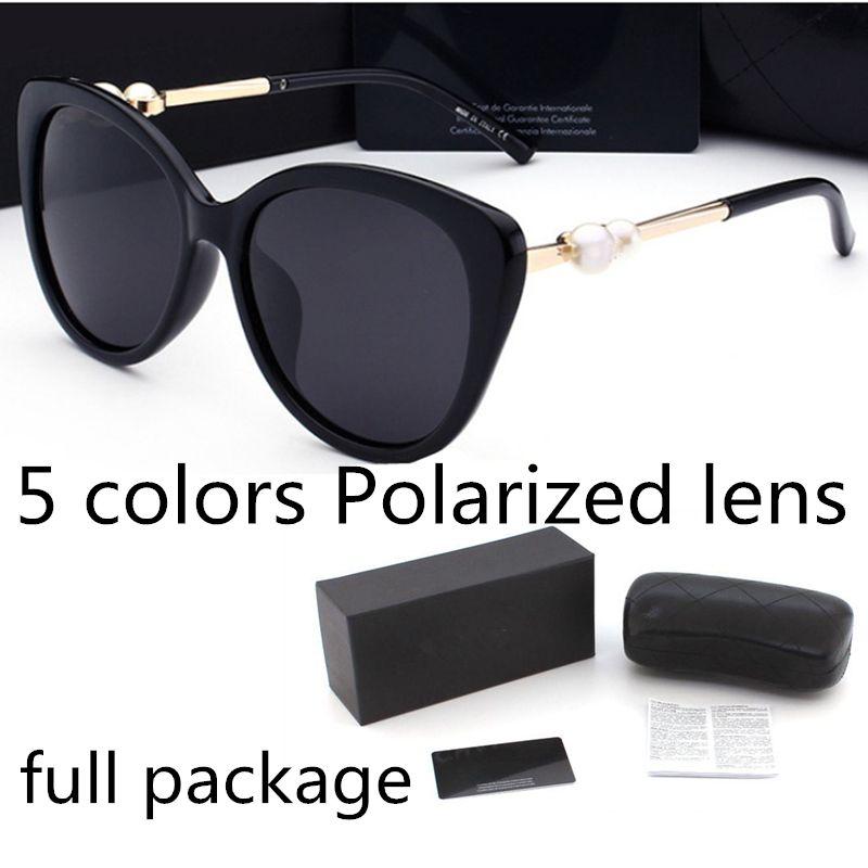 أزياء لؤلؤة مصمم النظارات الشمسية ذات جودة عالية العلامة التجارية عدسة النظارات المستقطبة نظارات شمسية للنساء نظارات معدنية الإطار 5 اللون 2039