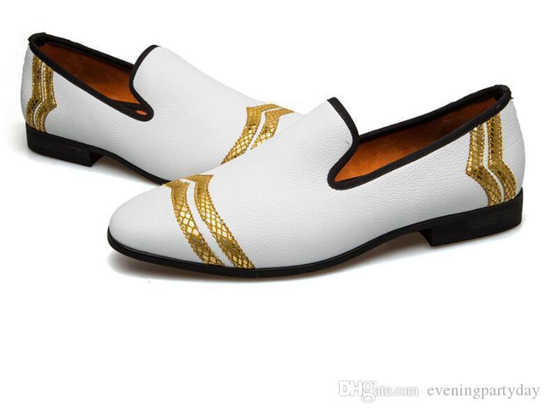2019Men's Casual Shoes Fashion Loafers Men Handmade Loafers Men Shoes White Casual Party Dress Shoes