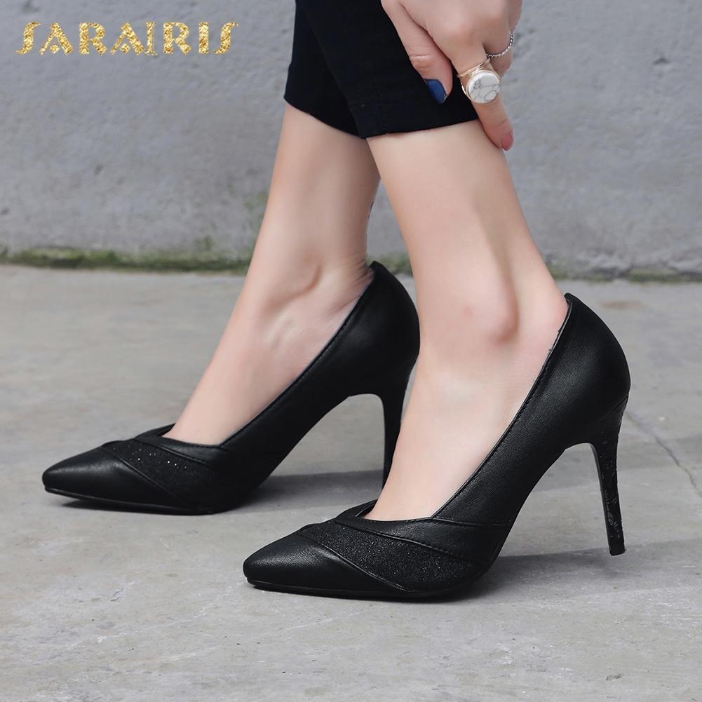 Sarairis 2020 Новая мода плюс размер 47 Супер тонкий Высокие каблуки обувь женщина насосы Женский поскользнуться на Заостренный Toe Управление леди Насосы