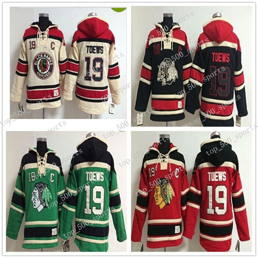 최고 품질 블랙 호크 옛날 하키 유니폼 19 Jonathan Toews Hoodie 풀오버 스웨터 겨울 자켓 믹스 주문