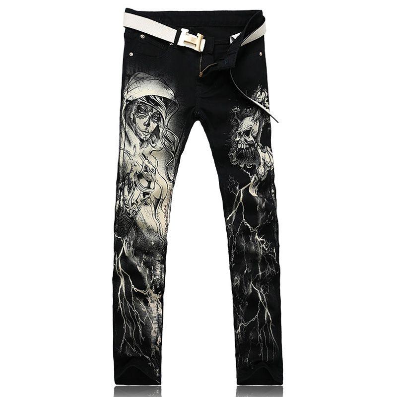 Erkek moda iskelet kafatası baskılı kot Erkek ince uygun siyah kot pantolon uzun pantolon