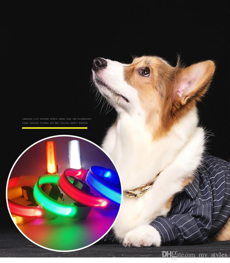 LED Nylon Pet Dog Collar Night Safety LED Light Flashing Glow in the Dark Small Dog Pet Leash Dog Collar Flashing Safety Collar 100 pcs