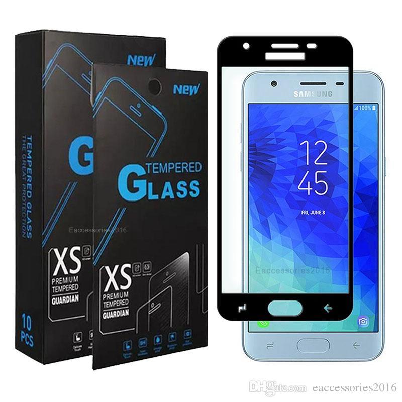 Bubble Free المضادة للخدش غطاء كامل الزجاج المقسى حامي الشاشة لسامسونج A02S A12 A32 A52 A72 J2 J3 J4 J7 سلسلة